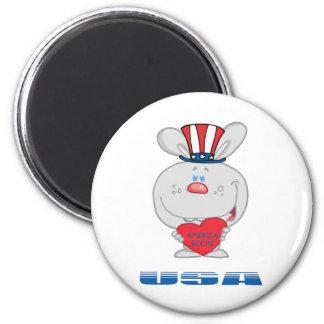 Patriotic Bunny 6 Cm Round Magnet