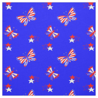 Patriotic Butterflies and Stars Fabric