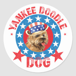 Patriotic Cairn Terrier Round Sticker