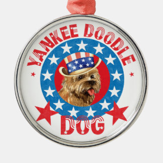 Patriotic Cairn Terrier Silver-Colored Round Decoration