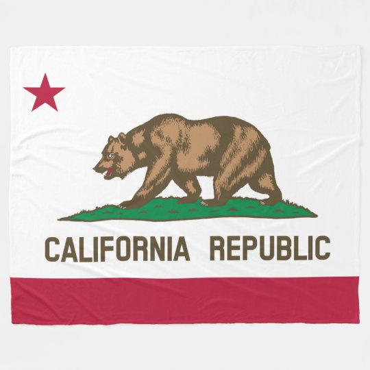 Patriotic California Republic Flag Fleece Blanket