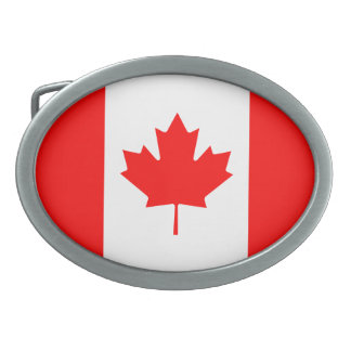 Patriotic Canadian Flag Oval Belt Buckle