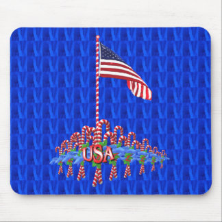 Patriotic Candy Canes Mousepad