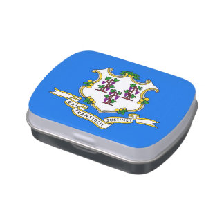 Patriotic candy tins with Flag of Connecticut