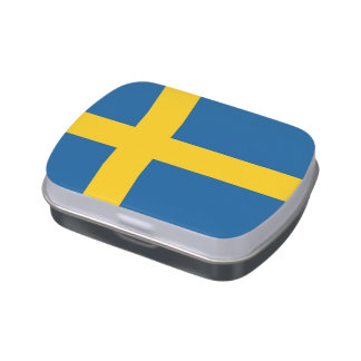 Patriotic candy tins with Flag of Sweden