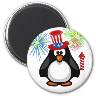 Patriotic Cartoon Paddy 4th of July Hat Fireworks 6 Cm Round Magnet