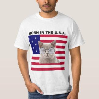 Patriotic Cat T-shirts, Born in the U.S.A. T Shirt