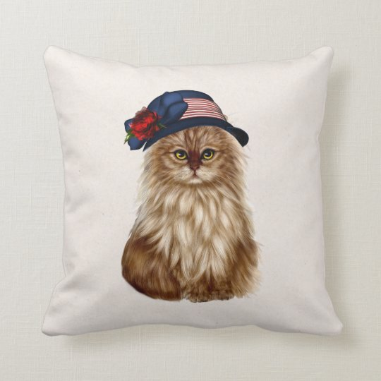 Patriotic Cat throw Pillow