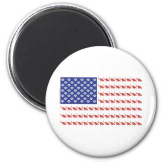 Patriotic Cat/USA 6 Cm Round Magnet