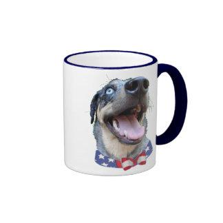 Patriotic Catahoula Leopard Dog Ringer Mug