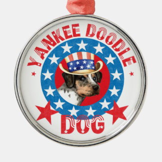 Patriotic Catahoula Silver-Colored Round Decoration