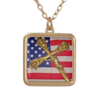 Patriotic Catholic Crucifix Necklace