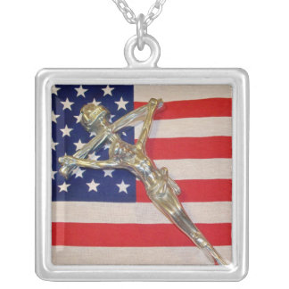 Patriotic Catholic Papal Crucifix Necklace