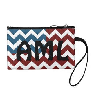 Patriotic chevron, personalize text coin purse