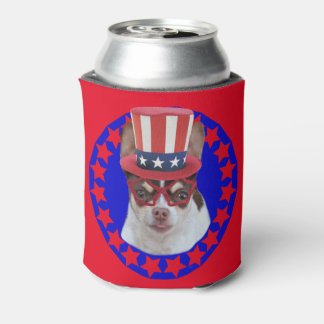 Patriotic Chihuahua dog can cooler