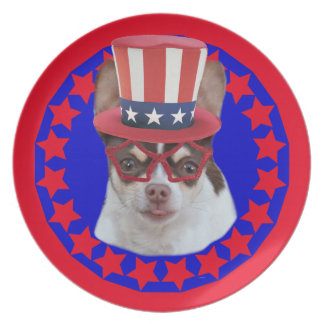 Patriotic Chihuahua dog decorative plate