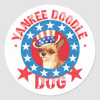 Patriotic Chihuahua Round Sticker