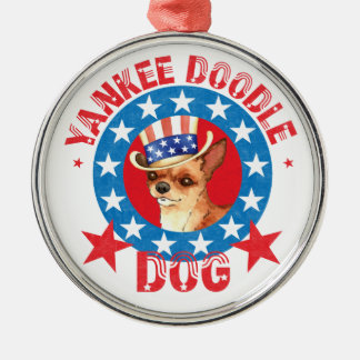 Patriotic Chihuahua Silver-Colored Round Decoration