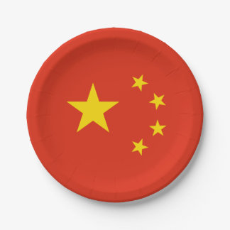 Patriotic Chinese Flag Paper Plate