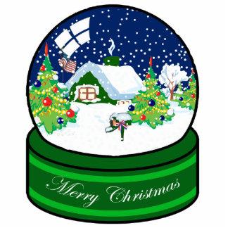 Patriotic Christmas Cottage Ornament Photo Cutout