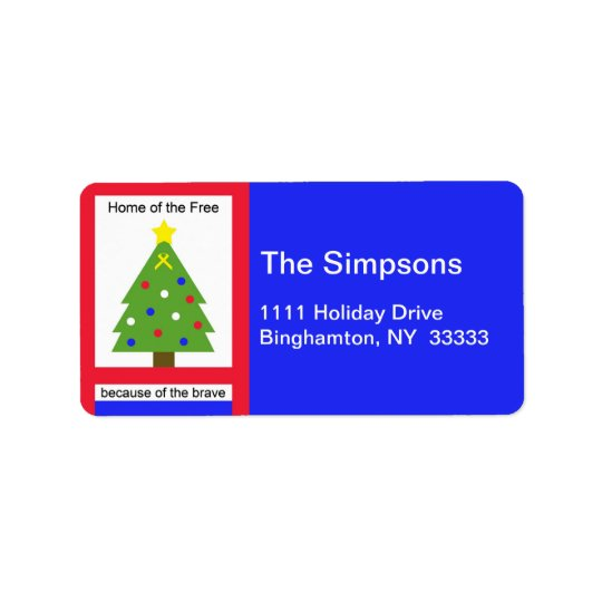 Patriotic Christmas Home of the Free Address Label