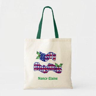 Patriotic Christmas Name Tote Tote Bag