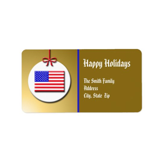 Patriotic Christmas Ornament Address Label