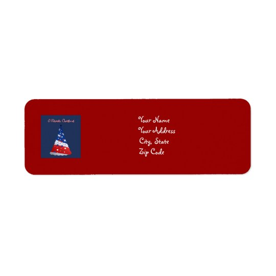 Patriotic Christmas, red, white, blue tree on red Return Address Label