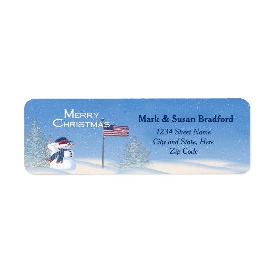 Patriotic Christmas Snowman - Return Label Return Address Label