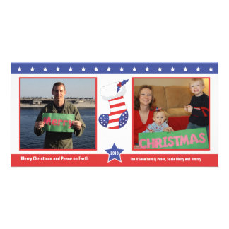 Patriotic Christmas Stocking Holiday Card