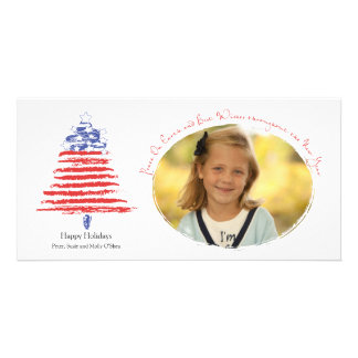 Patriotic Christmas Tree Holiday Card Photo Cards