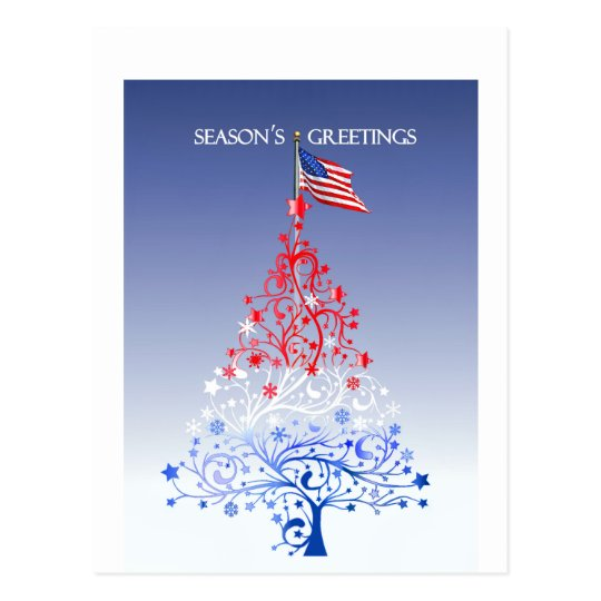 Patriotic Christmas Tree with American Flag Postcard