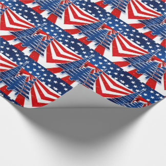 Patriotic Christmas Trees Stars and Stripes Wrapping Paper