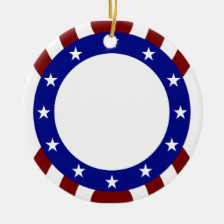 Patriotic Circle of Stars Memorial Day Christmas Ornament