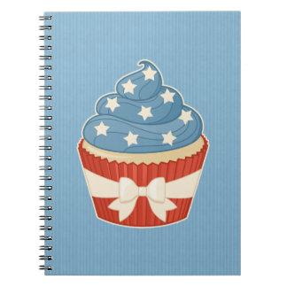 Patriotic Cupcake on Blue Stripes Notebooks