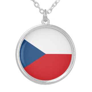 Patriotic Czech Republic Flag Silver Plated Necklace