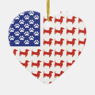 Patriotic Dachshund Doxie Ceramic Heart Decoration