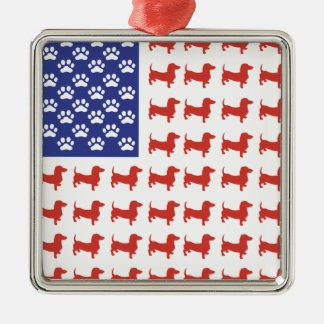 Patriotic Dachshund Doxie Christmas Ornament