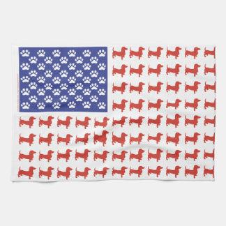 Patriotic Dachshund Doxie Tea Towel