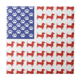 Patriotic Dachshund Doxie Small Square Tile
