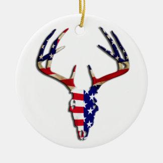 Patriotic Deer Hunting skull Christmas Ornament
