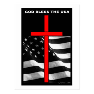 "Patriotic Designs - ""God Bless The USA"" Postcard"