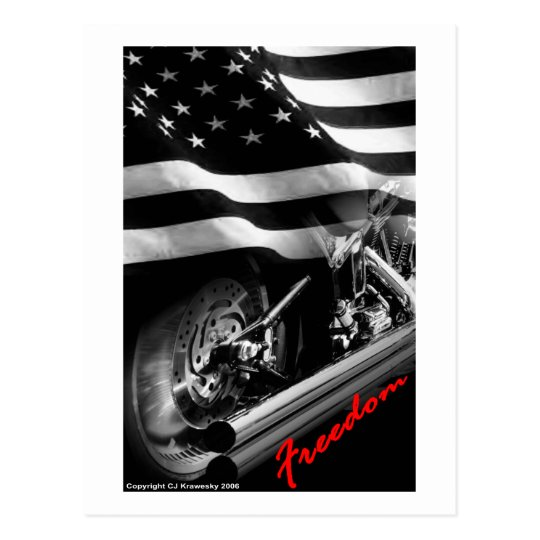 "Patriotic Designs - ""USA Freedom Motorcycle"" Postcard"