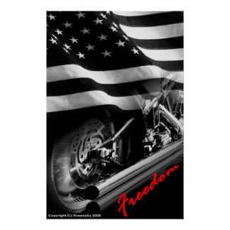 "Patriotic Designs - ""USA Freedom Motorcycle"" Poster"
