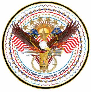 Patriotic Disabled Veteran Lapel Pin Photo Sculpture Badge
