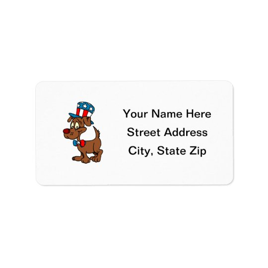 Patriotic Dog Address Label