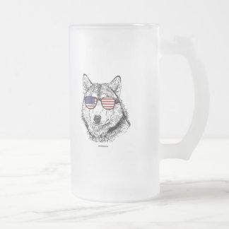 Patriotic Dog Frosted Glass Mug