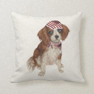 Patriotic Dog Spaniel Throw Pillow