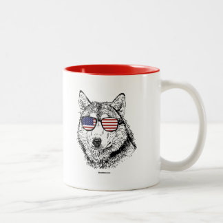 Patriotic Dog Two-Tone Mug