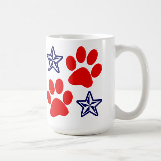 Patriotic Dogs in Service with Paws and Stars Basic White Mug